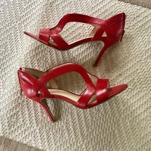Sexy bright red Nine West high heeled sandal